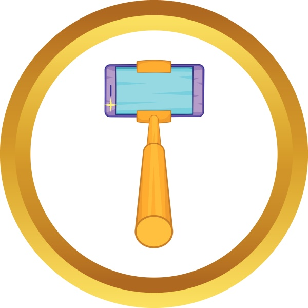 selfie stick with a smartphone vector
