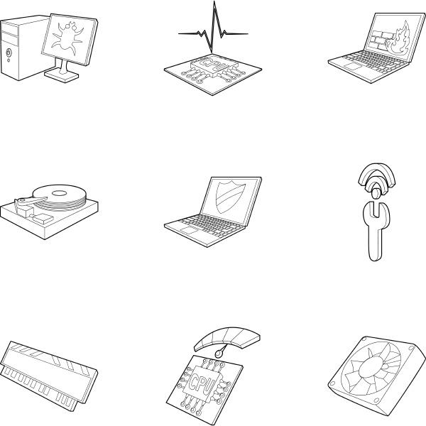 computer setup icons set outline style