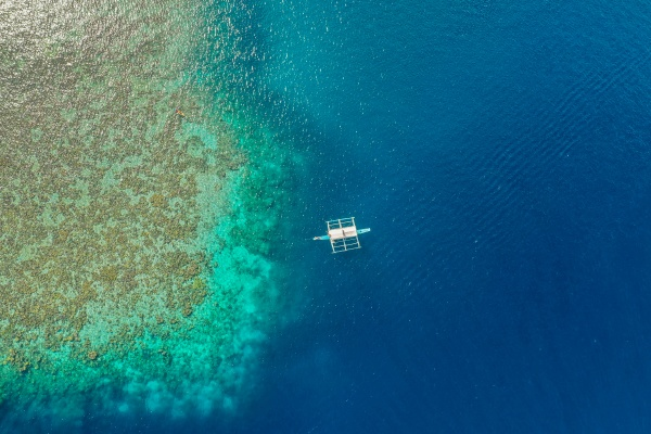 aerial view of reef with