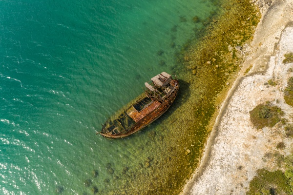 aerial view of sunken ship in