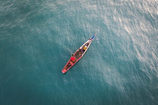 aerial view of african fisherman on