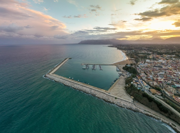 aerial view of balestrate coastal town
