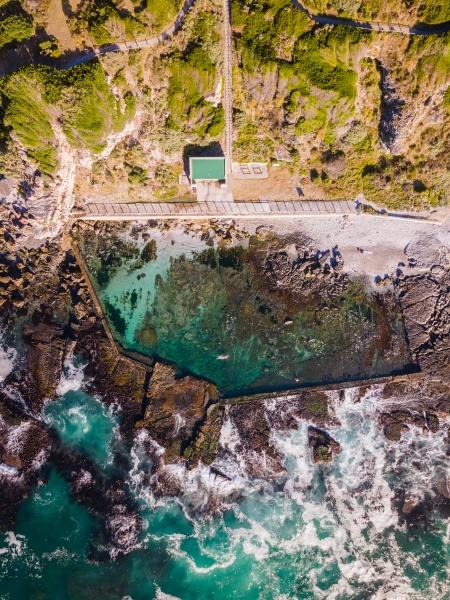 aerial view of hermanus tidal pool