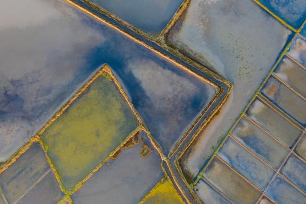 aerial view of salt evaporation ponds