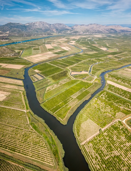 aerial view of neretva river estuary