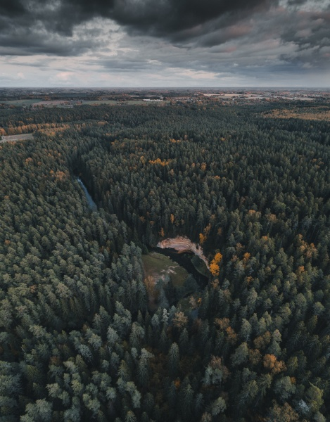 aerial view of ahja river and