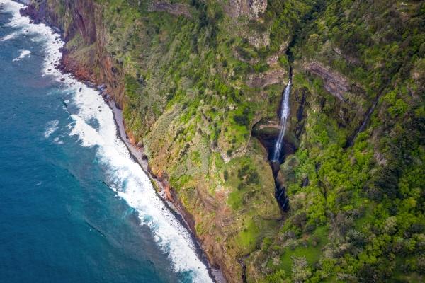 aerial view of a waterfall santana