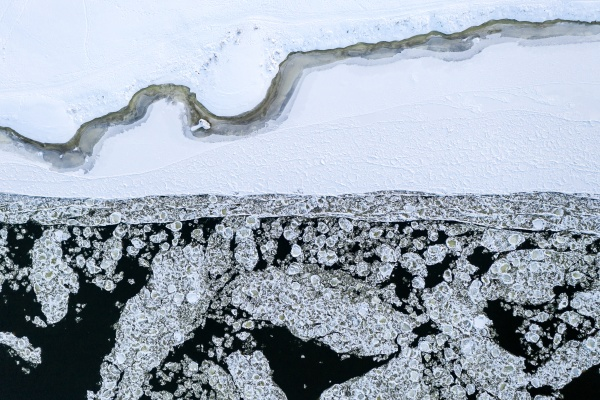 aerial view of ice floes in