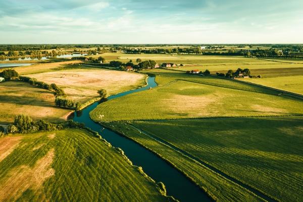 aerial view of idyllic farmland in