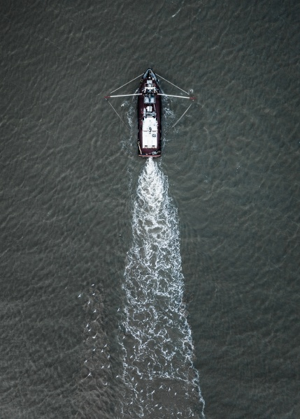 aerial view of a fishing boat