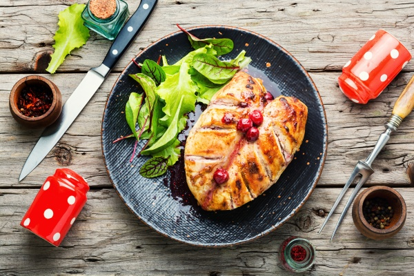 grilled chicken fillet with cherry syrup