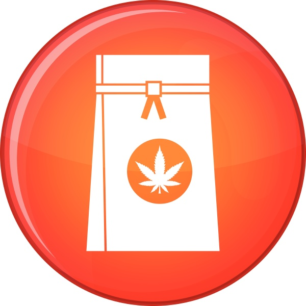 bag with cannabis icon flat style