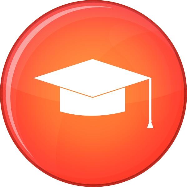 graduation cap icon flat style