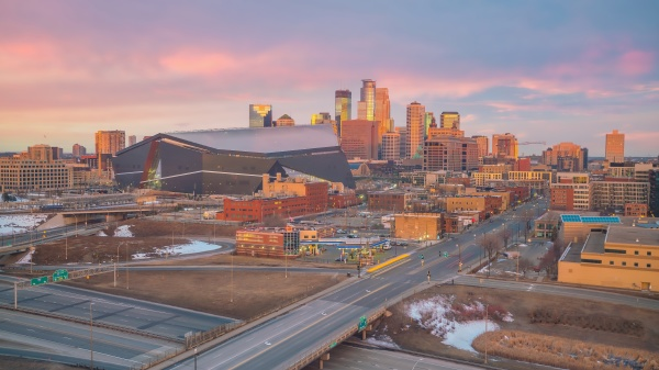 cityscape of minneapolis downtown skyline in