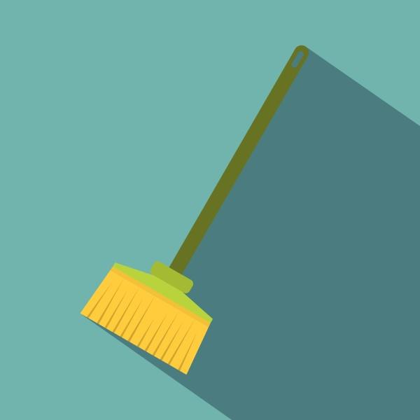 broom icon flat style