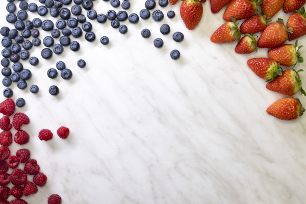 still life with blueberries strawberries and