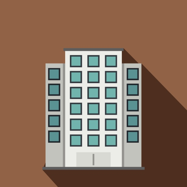 skyscraper icon flat style