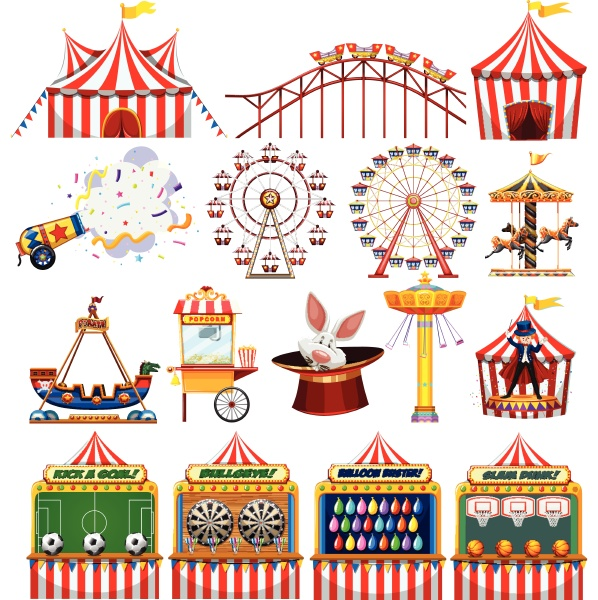 set of carnival objects