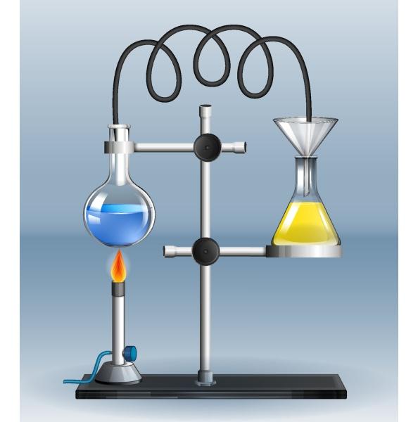 lab experiment with burning liquid