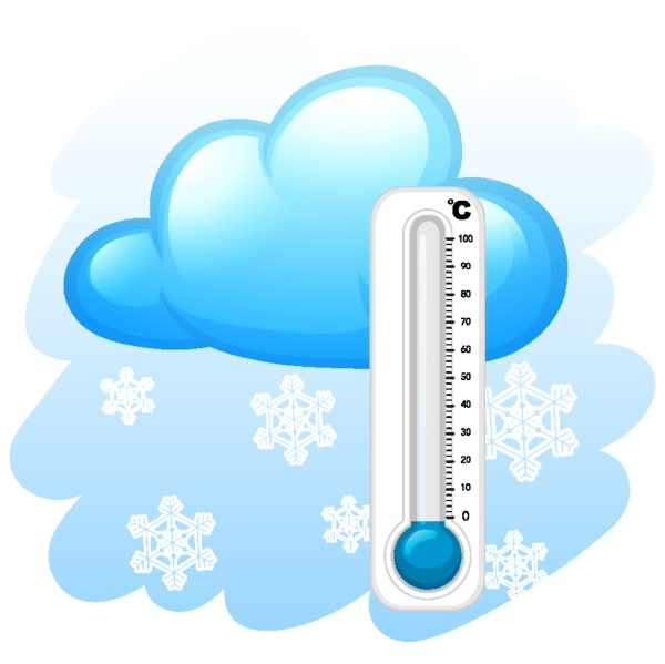 thermometer with snowflakes background