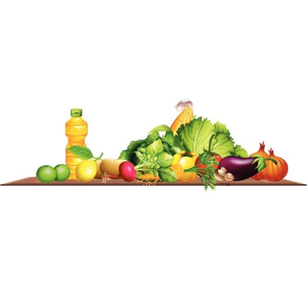fresh vegetables and olive oil