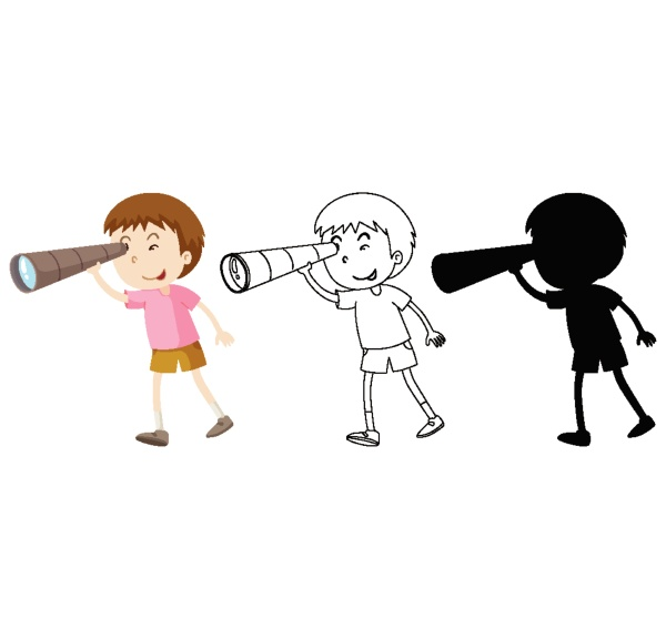 boy using binoculars in colour and