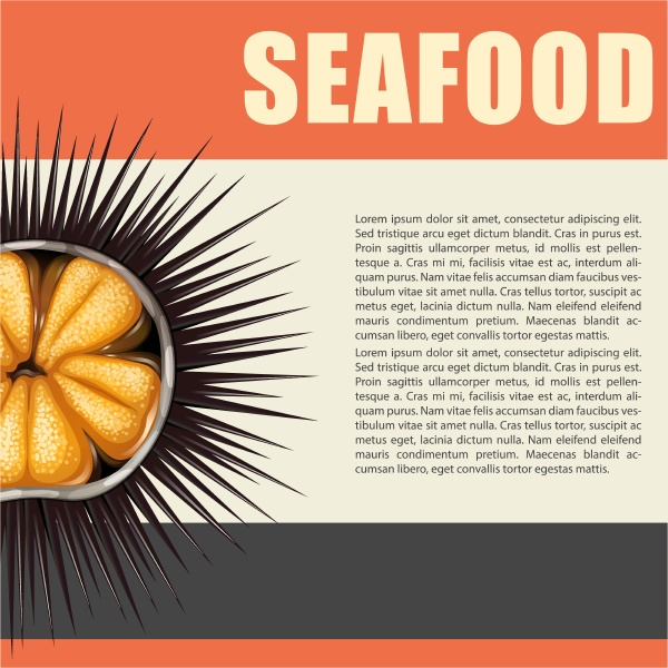 seafood poster with sea urchin