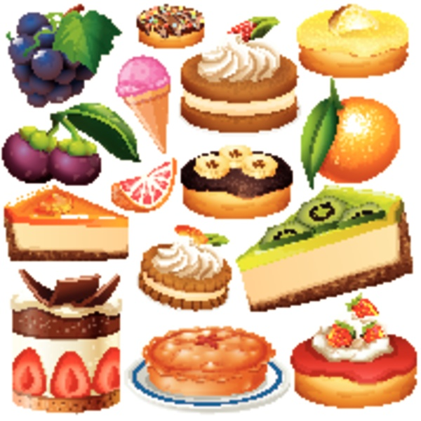 set of isolated fruits and desserts