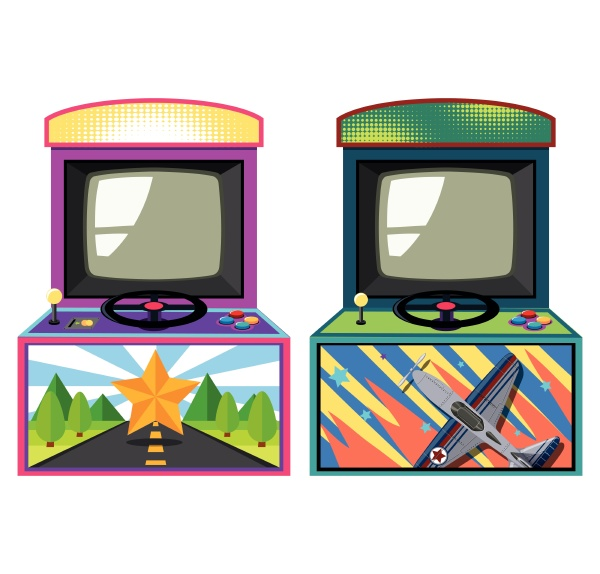 two arcade game boxes