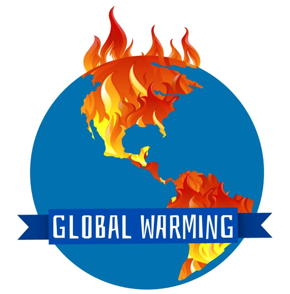global warming poster with earth on