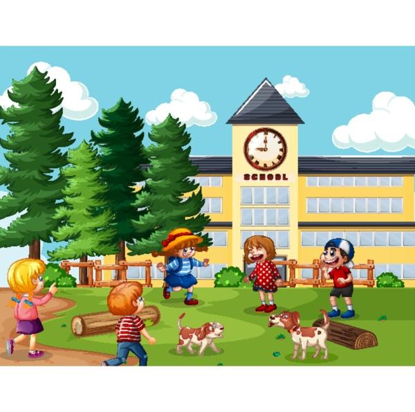 children in the school scene