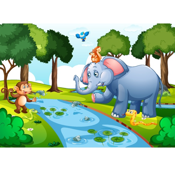 wild animals in the forest at