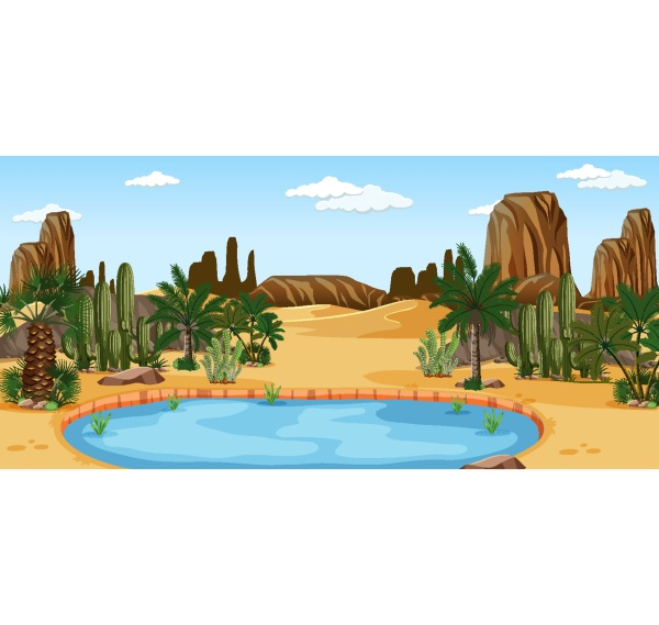 desert oasis with palms and cactus