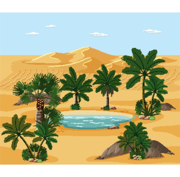 desert landscape with nature tree elements