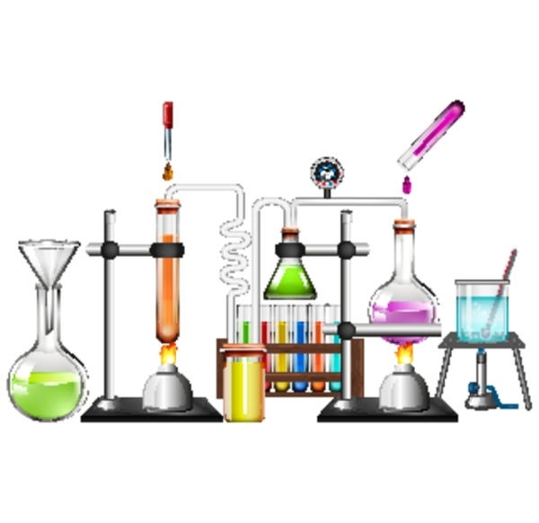 set of science equipments on white