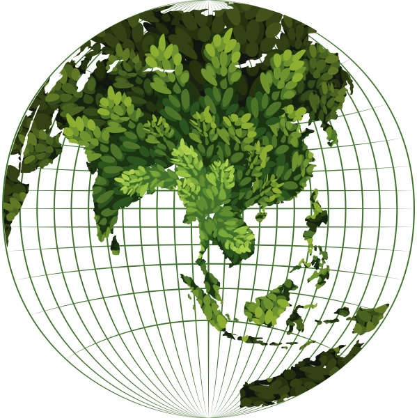 environmental theme with plant on earth