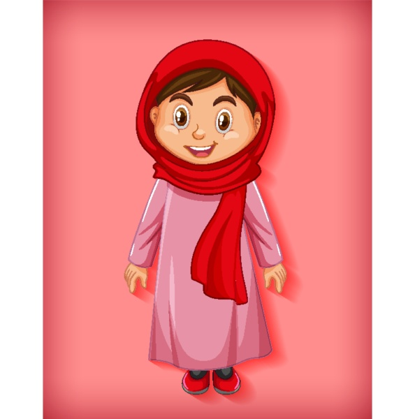 beautiful arabic lady cartoon character