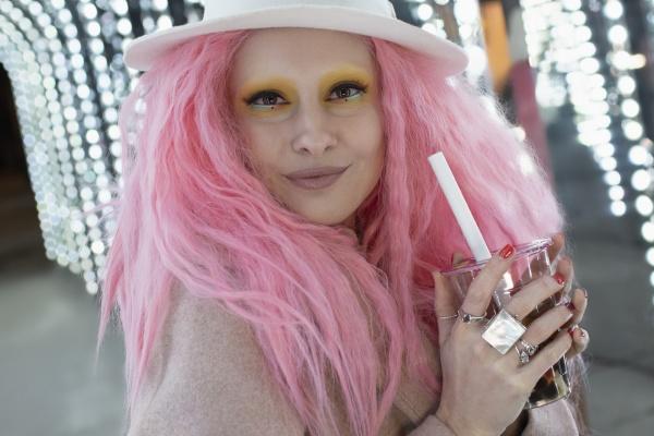 portrait stylish beautiful woman with pink