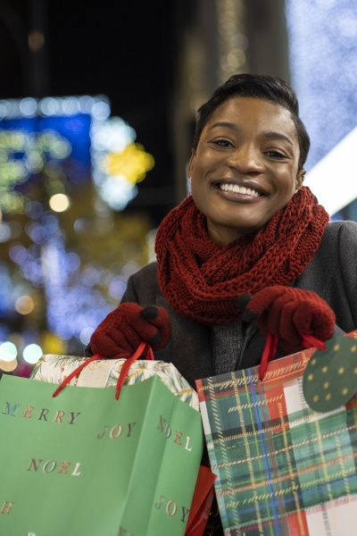 portrait happy young woman with christmas