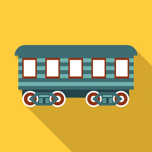 passenger wagon icon flat style