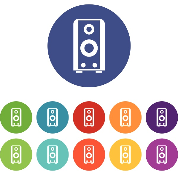 black sound speaker set icons