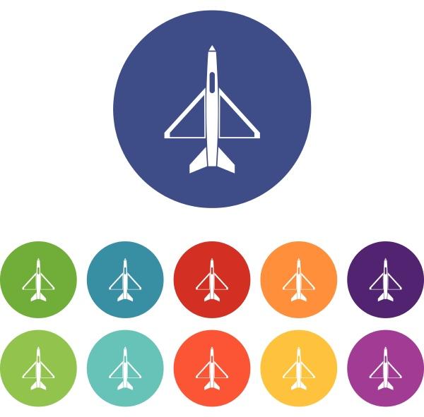 military aircraft set icons