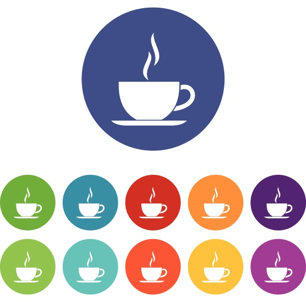 cup of hot drink set icons