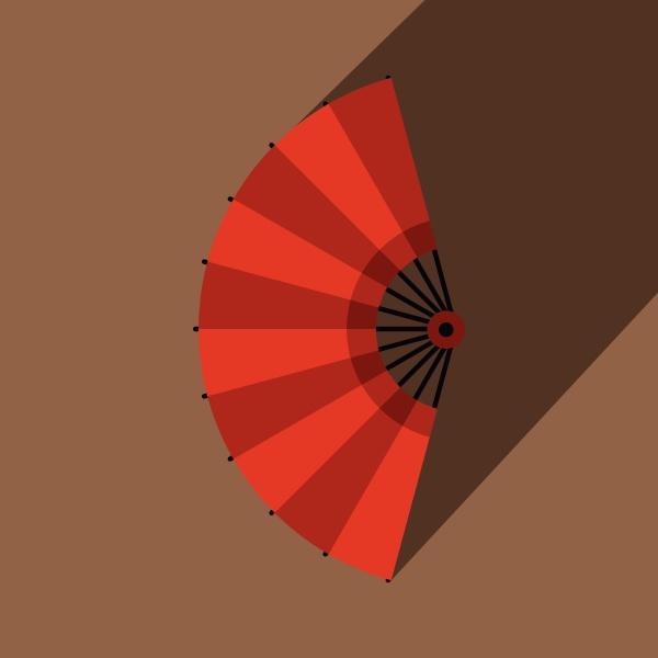 red open hand fan icon flat