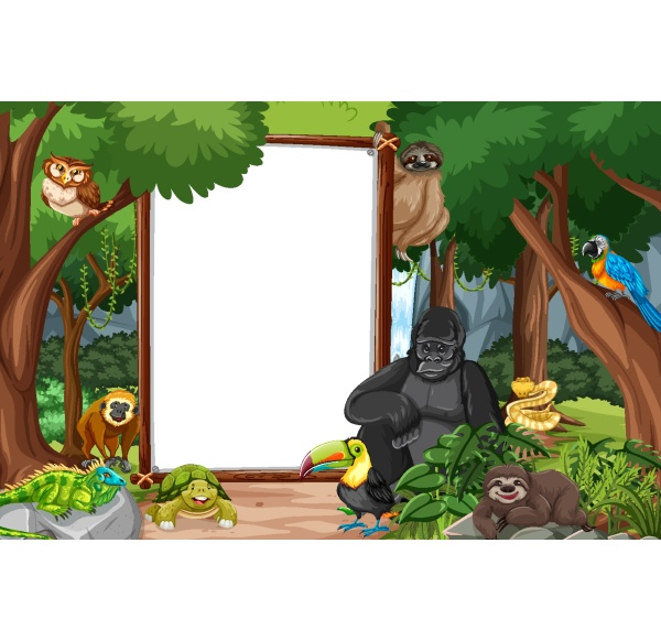 blank, banner, in, the, rainforest, scene - 30231045