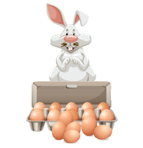 white bunny with many eggs