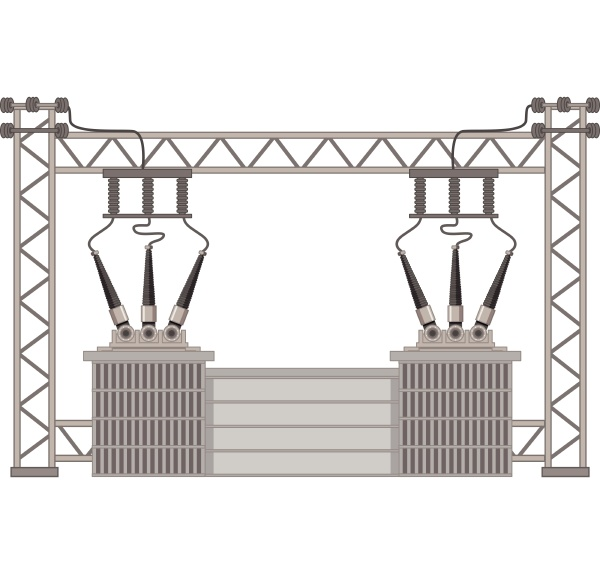 electric poles with transformers and electric
