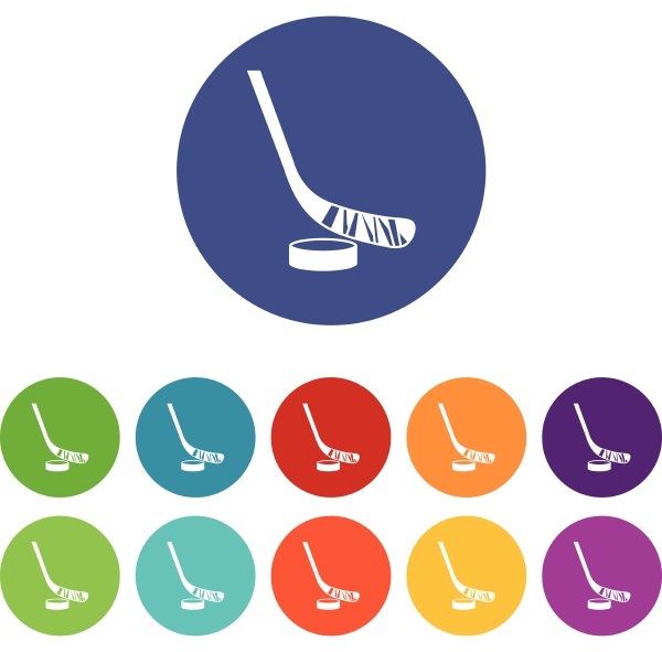 stick and puck set icons