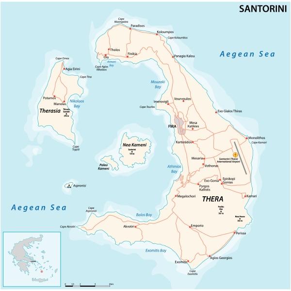 vector map of the santorini archipelago