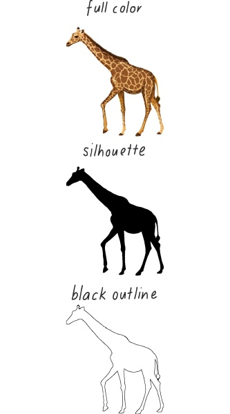 set of giraffe in color silhouette
